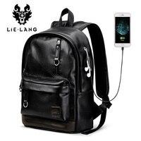 LIELANG Backpack Men Laptop Backpacks Leather External Usb Charge Antitheft Backpack For Men Male Waterproof Bag Rucksack