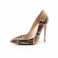 Sexy High Heels Snake Print Leather Pumps Large Size High Heels Party Shoes Pointed Toe 12CM Slip-on Super High Heels