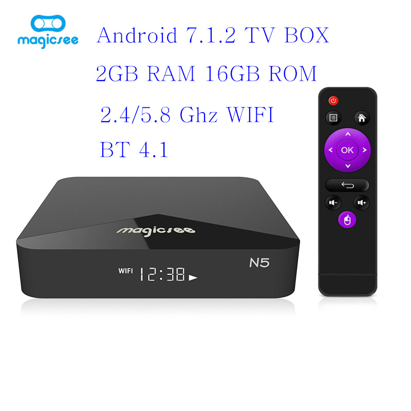MAGICSEE N5 Android 7.1 TV BOX 2gb 16gb Amlogic S905X 2.4G 5G WiFi IPTV STB 100Mbps BT4.1 Support 4K H.265 Smart TV Box