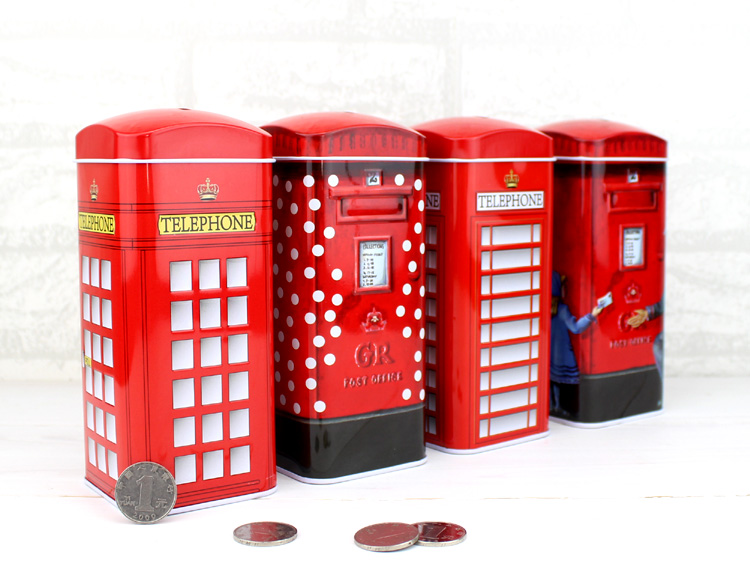 Free Shipping 1 X British Telephone Booth/ Mail Box Money Box Piggy Bank Coin Bank For Christmas Birthday Gift