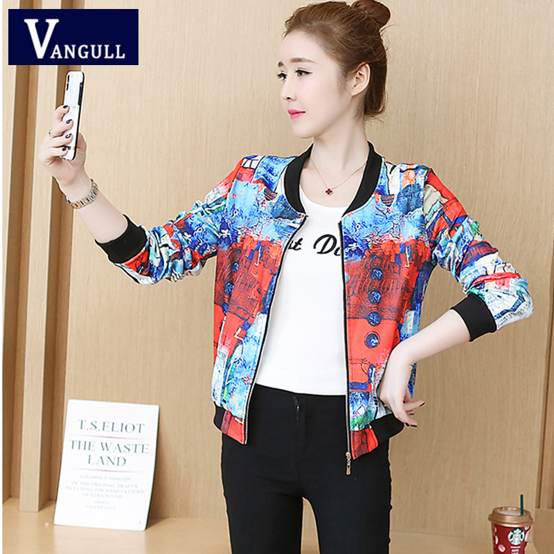 Vangull Spring Casual Women's Clothing Print Baseball   Basic     Jackets   Long Sleeve O-Neck Zipper Slim Female Fashion Outerwear