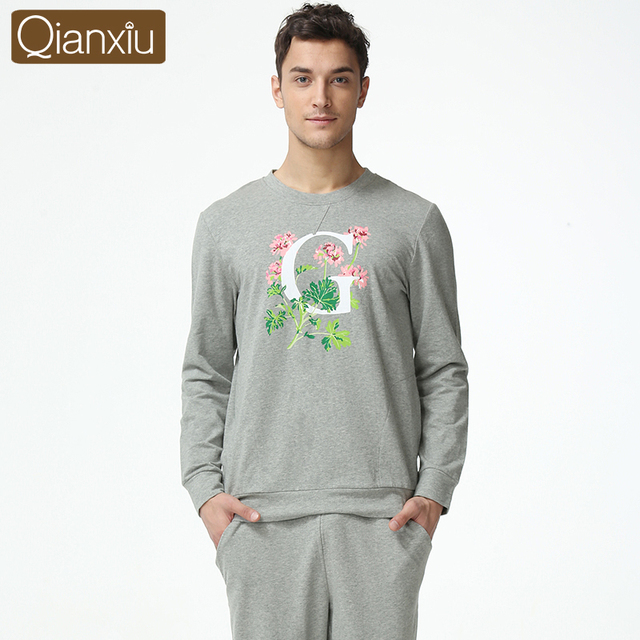 2016 New Brand Lovers Knitted Cotton Casual Long-Sleeved Pajama Suit Tracksuit Men Can Wear Out Qianxiu 1614
