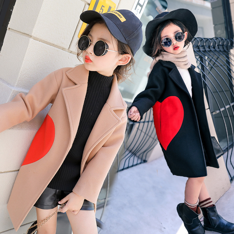 цена на New Girls Fall Winter Woolen Jacket Children's Long Thickened Trench Coat Kids Love Heart Pattern Outerwear Casual Overcoat A954