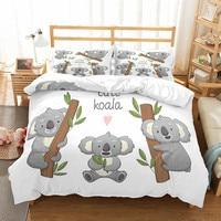 Fanaijia conjunto de cama infantil  conjunto de cama fofo de coala com fronha