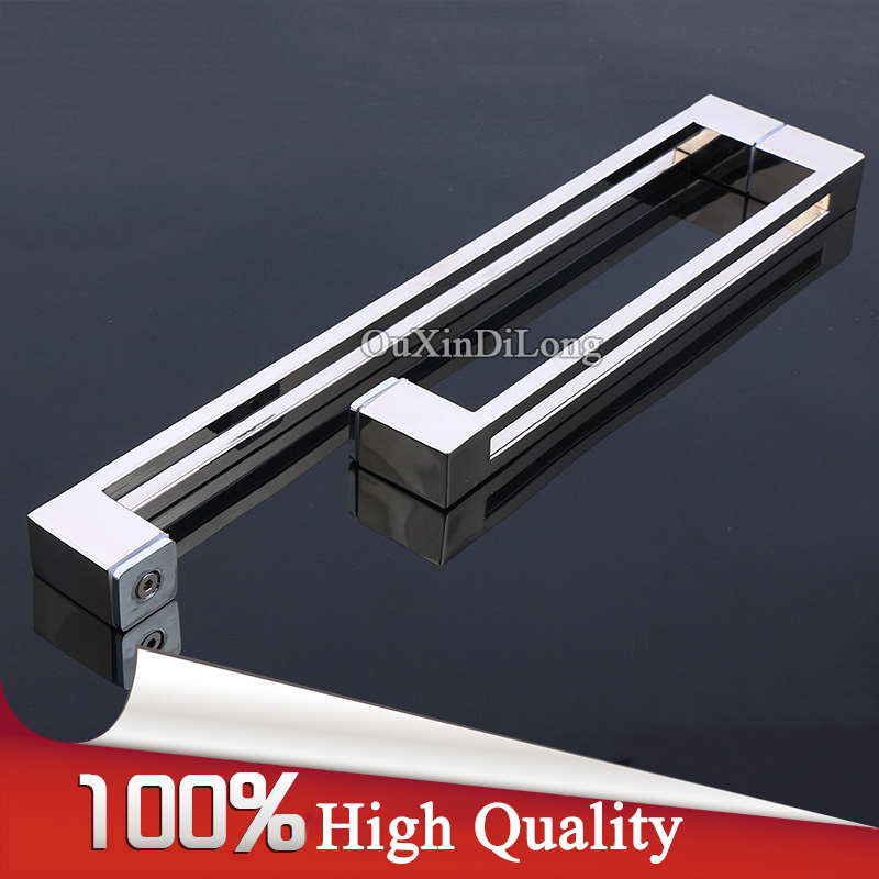 Luxury 304 Stainless Steel Frameless Shower Bathroom Glass Door Handles L Shape Pull / Push Handles Towel Bar Glass Mount Chrome top designed 1pair frameless shower bathroom glass door handles o shape pull push handles glass mount chrome finished