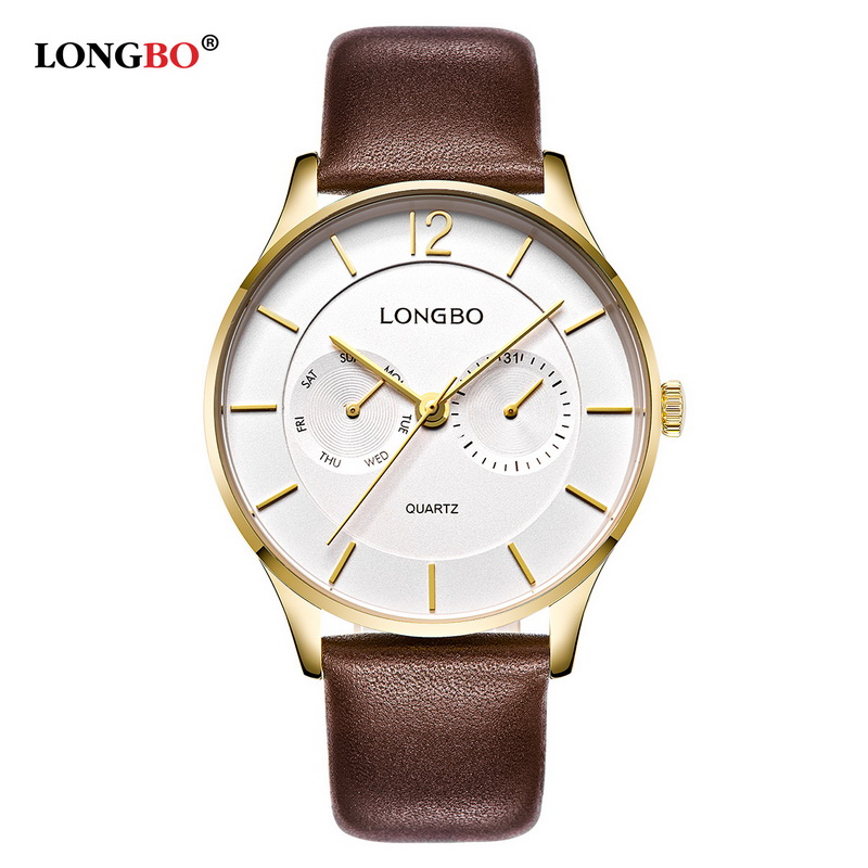 LONGBO Luxury Men Genuine Leather Watch Sports Quartz Watches For Men Male Leisure Clock Simple Watch
