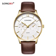 LONGBO Luxury Men Genuine Leather Watch Sports Quartz Watches For Men Male Leisure Clock Simple Watch