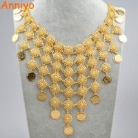 Anniyo 46cm Arab Vintage Coin Gold Color Big Necklaces For Women Middle Eastern Jewelry Iraqi Iranian