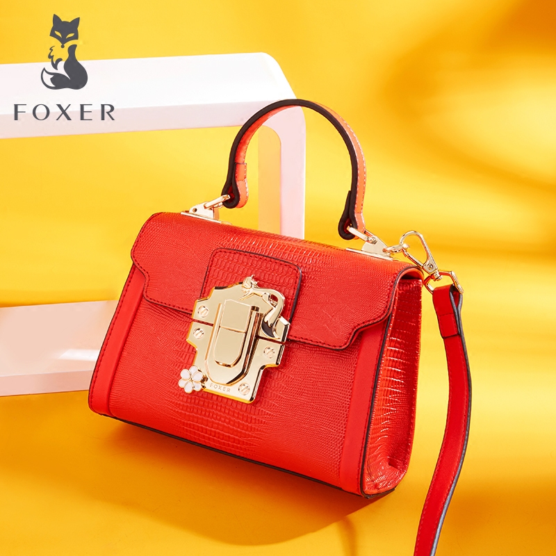 FOXER Brand Fashion Women Leather Handbags Lady Shoulder Bag Simple & Luxury Crossbody Bags for Female High Quality Bags foxer brand women s leather handbag fashion female totes shoulder bag high quality handbags