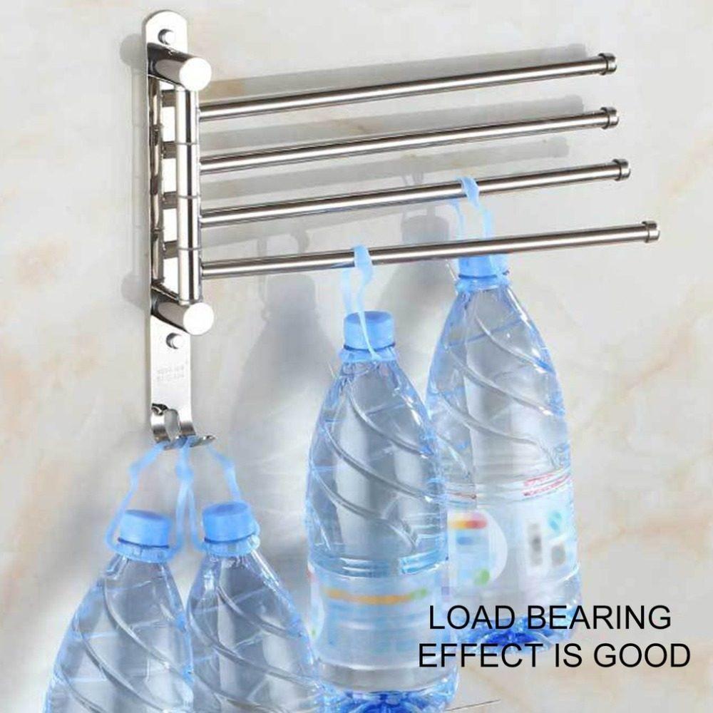 Online Shop Wall Mount Stainless Steel Towel Bar Rotating Towel Rack ...