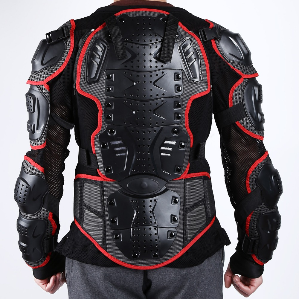 ФОТО New Black/Red Professional Motorcycle Motocross Racing Full Body Protective Armor Jacket Gear Protect Spine Chest Size S~XXXL
