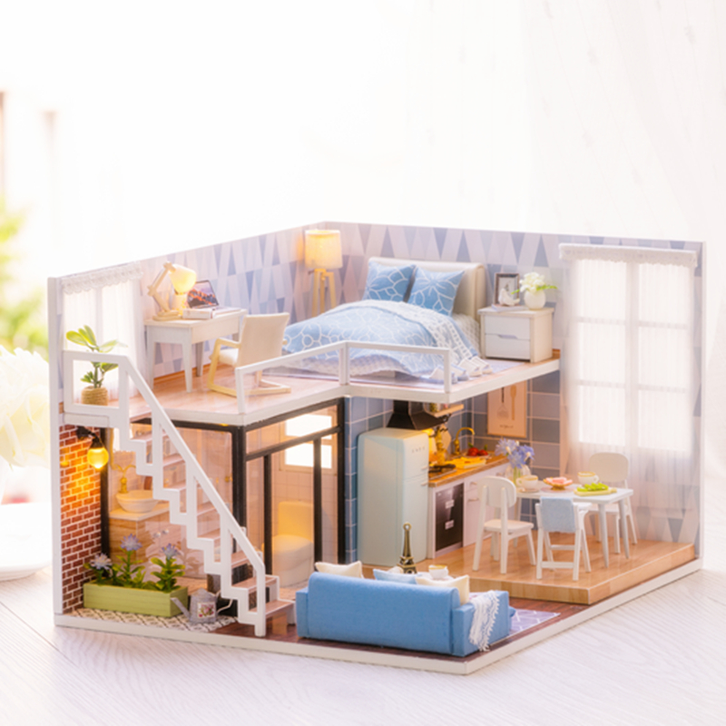 Elegant DIY Miniature Model Dollhouse Blue Time With Furnitures LED 3D Wooden House Toys Handmade Gifts For Children L023 #D