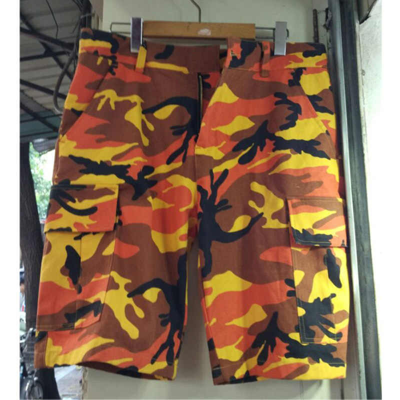 5660790a6b FOG Cargo Shorts 18SS Street Fashion Men Joggers Casual Camouflage Shorts  Summer Military Yellow Red Camo