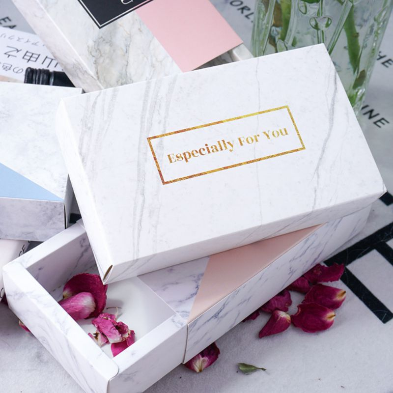 Square Marble Gift Boxes Flower Box Wedding Candy Box Gift Kraft Paper Chocolate Cookies Boxes Women's Gift