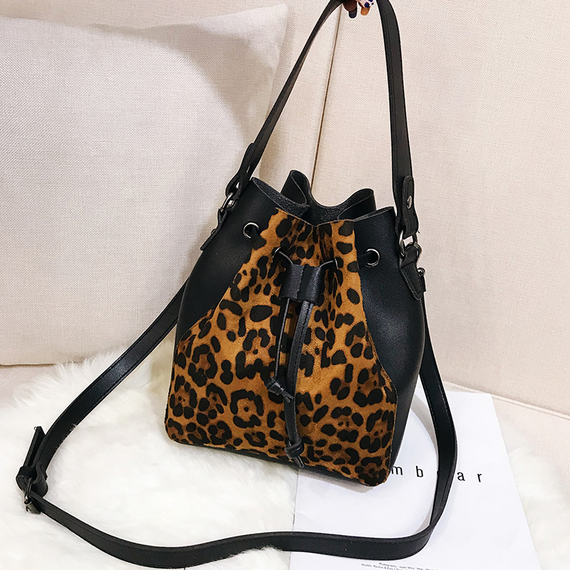 Black Luxury Leopard Drawstring Bucket Bag Women PU Leather Handbag Shoulder Bags Designer Ladies Crossbody Messenger Bags