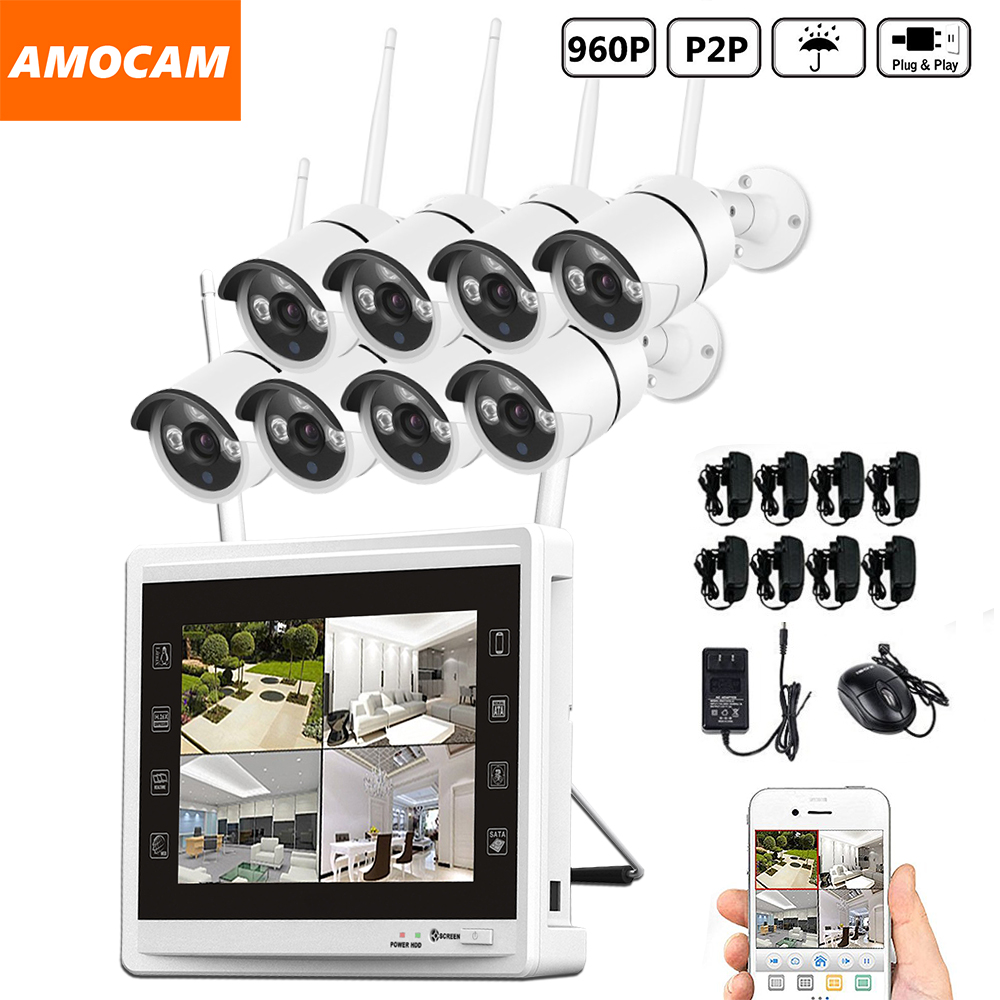 8CH 960P Wireless WIFI Security Camera System 8pcs 1.3MP WIFI Bullet IP Cameras 8channel 960P NVR with 11 inch HD Monitor Record
