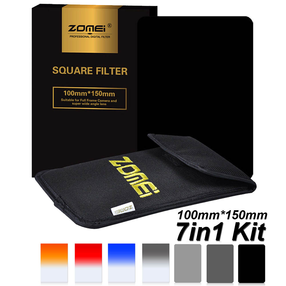 7 in 1 Zomei 100mm x 150mm Square filter ND2 ND4 ND8 Graduated 4 colors Filter Kit 100mm*150mm 100x150mm for Cokin Z-PRO Holder