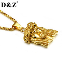 D Z Hiphop Rock Casting 316L Stainless Steel Carvging Jesus Pendants Necklaces For Men Jewelry