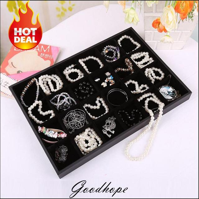 Fine Jewelry Display Tray 24 Grids Black Velvet Beads Jewellery Showing Box Ring Earring Bracelet Holder Portable Organizer Case