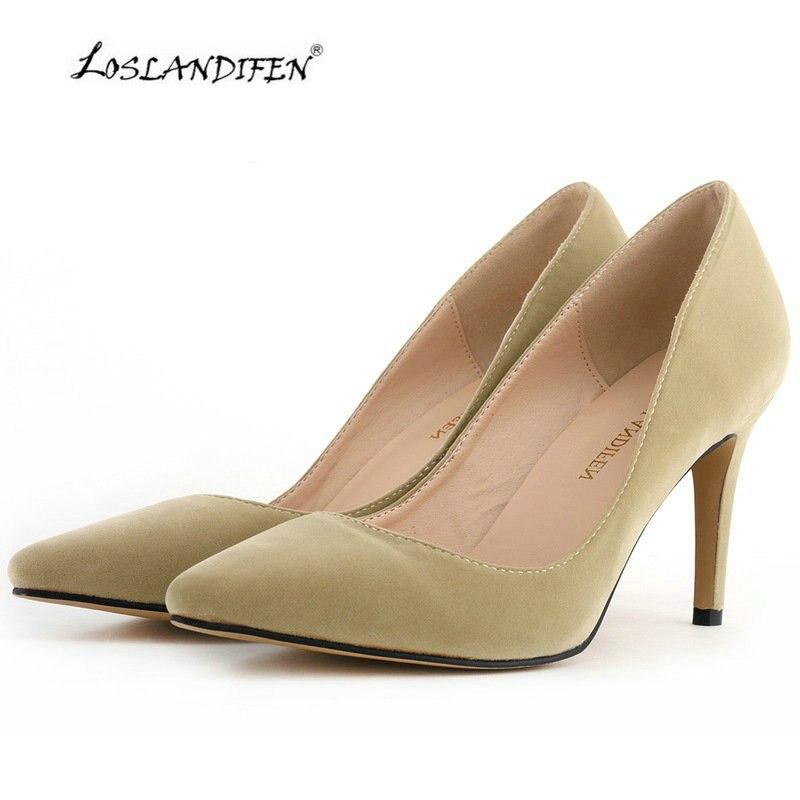 Loslandifen Fashion High Heels Shoes Nude Women Pumps Pointed Red Wedding Shoes -5188