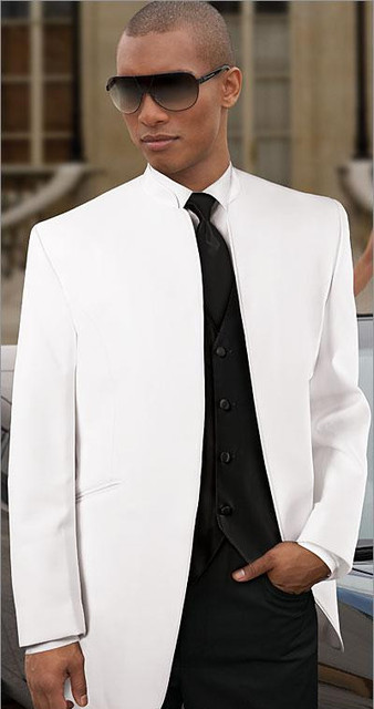 New Arrival Stand Collar White Wedding Tuxedo Groom Suit One On Single T Suits Jacket