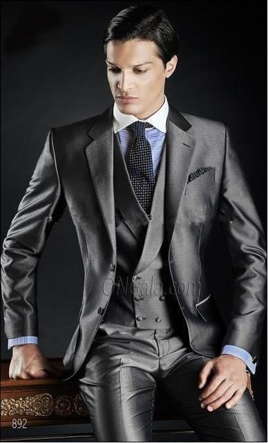 Shiny Gray  Groom Tuxedos Groomsman Dress Men's Wedding Prom Suits (Jacket+Pants+Vest+Tie) NO:063