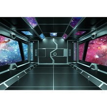 Laeacco Spaceship Science Fiction Planet Universe Baby Portrait Interior Photo Backgrounds Photography Backdrop For Studio