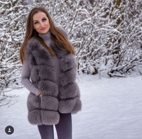 70CM Length Real Fur Warm Autumn Winter Coat Women Fluffy Genuine Fox Fur Vest Gilet Medium Long Waistcoat Outwear NE028