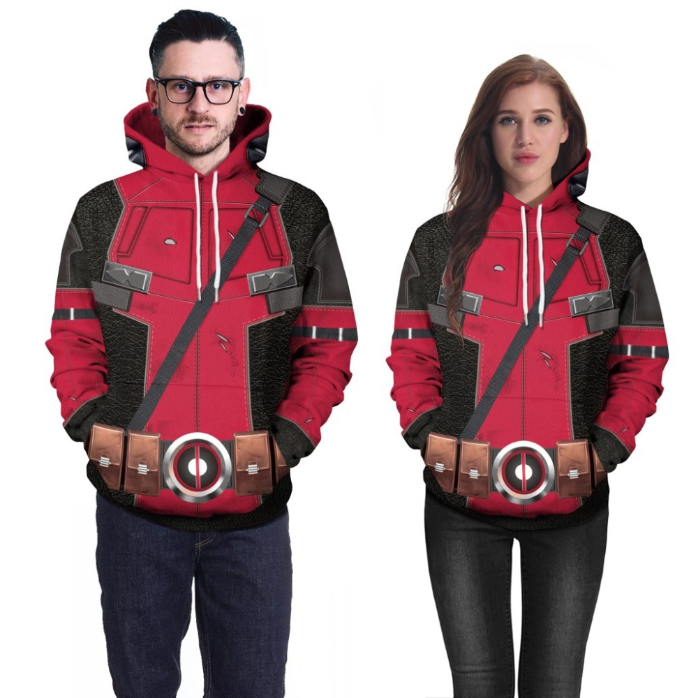 COSFANS 2018 New high quality Deadpool Cosplay Costumes Men Women Long sleeve 3d digital printed masked superman hooded sweater