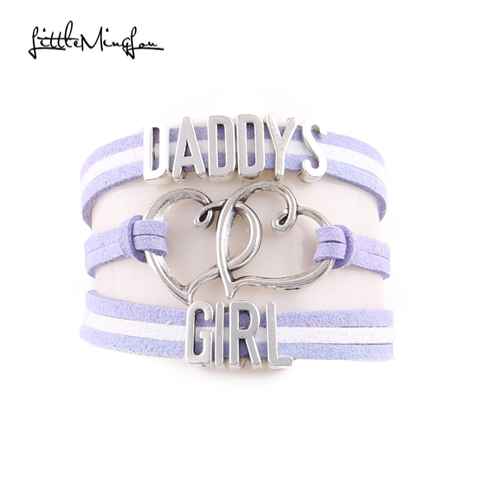Little Minglou daddy's girl bracelet heart charm suede wrap men bracelets & bangles for women jewelry family gifts drop shipping