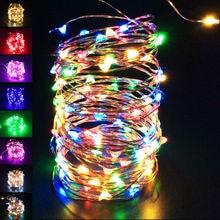 1/2/3/4/5/10M Водонепроницаемый Батарея питаемые через USB порт светодиодный строку медным проводом ярмарка светильник полоска для автомобильной лампы для вечерние, свадьбы, Рождества