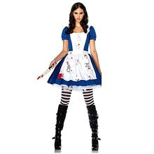 купить Game Alice Madness Returns Cosplay Costume Halloween Carnival Uniforms Blue Maid Dress Restaurant Servant Outfit Custom Made по цене 797.21 рублей