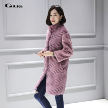 Gours Winter Real Natural Fur Coat for Women Brand Clothing Fashion Girls Colored Real Rex Rabbit Fur Jackets and Coats 2016 New