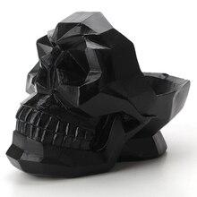 3D геометрические украшения в виде черепа, миниатюрные фигурки из смолы, домашний офис, барный стол, Декор, держатель для телефона, настольный череп, коробка для хранения изделий
