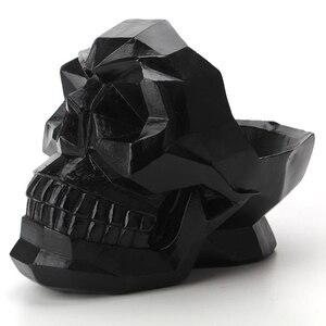 3D геометрический череп орнаменты смолы миниатюрные фигурки домашний офис бар Настольный Декор держатель для телефона стол череп ремесла к...