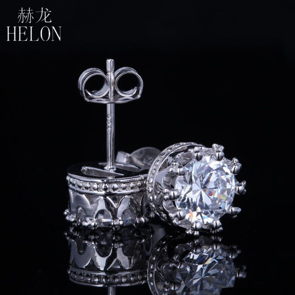 HELON Solid 10k White Gold 2 Carat G-H Push Back Stud Earrings Test Positive Lab Grown Moissanites Diamond Earrings For Women solid 14k white gold 1 carat ctw g h push back stud earrings test positive moissanite diamond for women