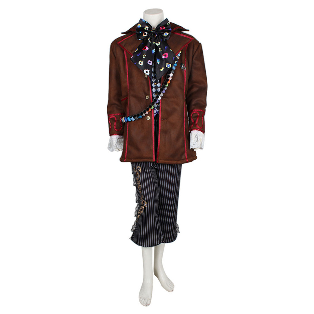 Alice In Wonderland Johnny Depp Mad Hatter Cosplay Costume Outfit Full Set Halloween Cosplay Costumes For Adult Men Custom Made