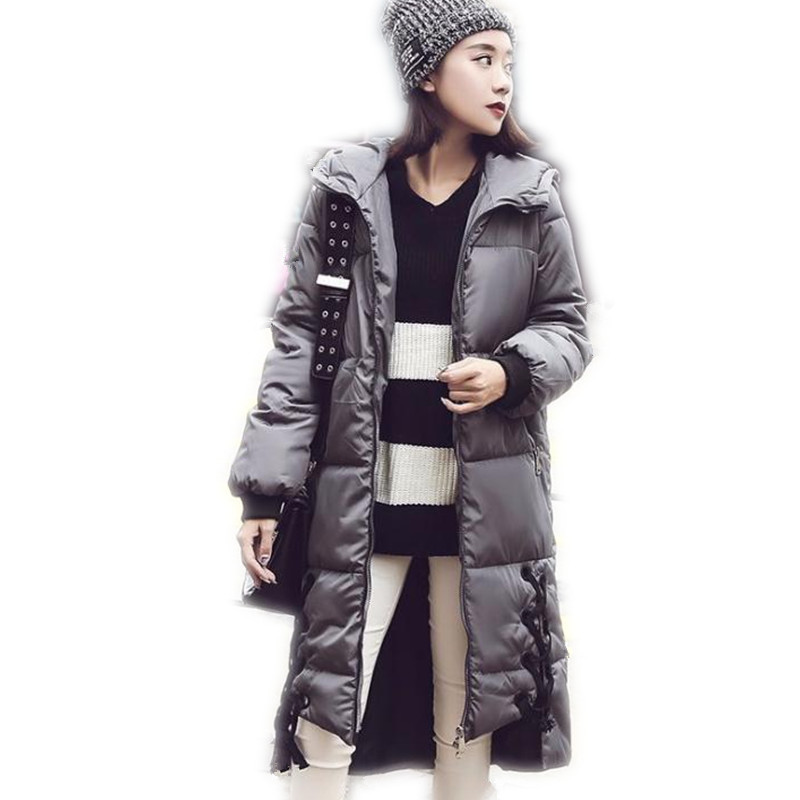 2017Fashion Winter Women Down Cotton Medium-Long Jacket Parka Female Hooded Wide-Waisted Outerwear Cotton Thicken Warm CoatCQ642 3 colors l 2xl 2015 new women winter down cotton padded coat female long hooded wide waisted jacket zipper outerwear zs247