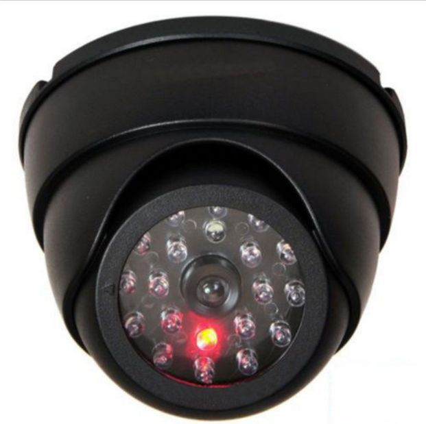 Black Dummy Fake Security CCTV Dome Surveillance Camera Flashing Red LED Light