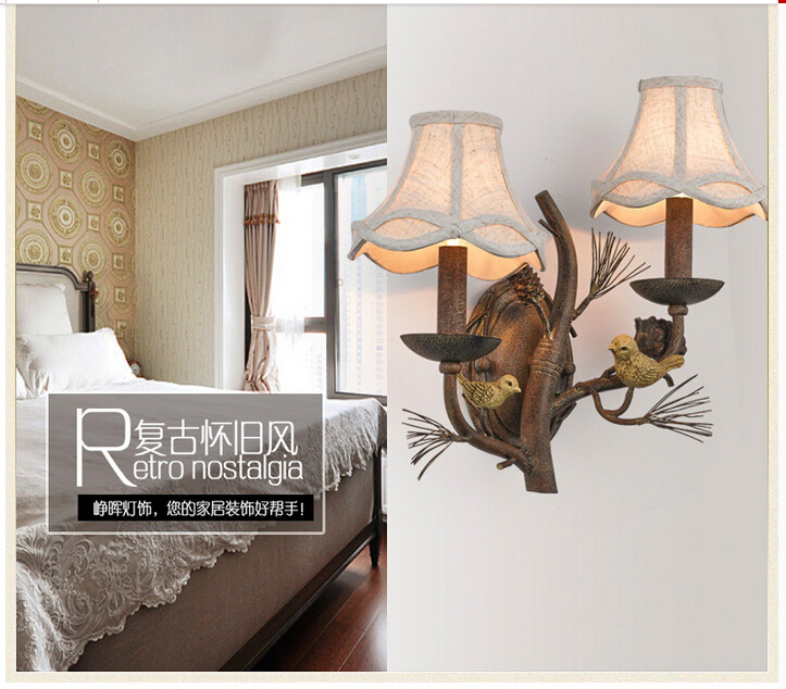 Free Shipping W43cm 2L American Country Style Nordic Fabric Shades Vintage Aisle Bird Design Wall Lamp
