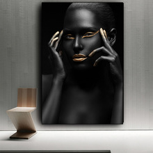 African Art Nude Woman Black Gold Wall Canvas Painting Cuadros Nordic Picture for Living Room Decoration Unframed