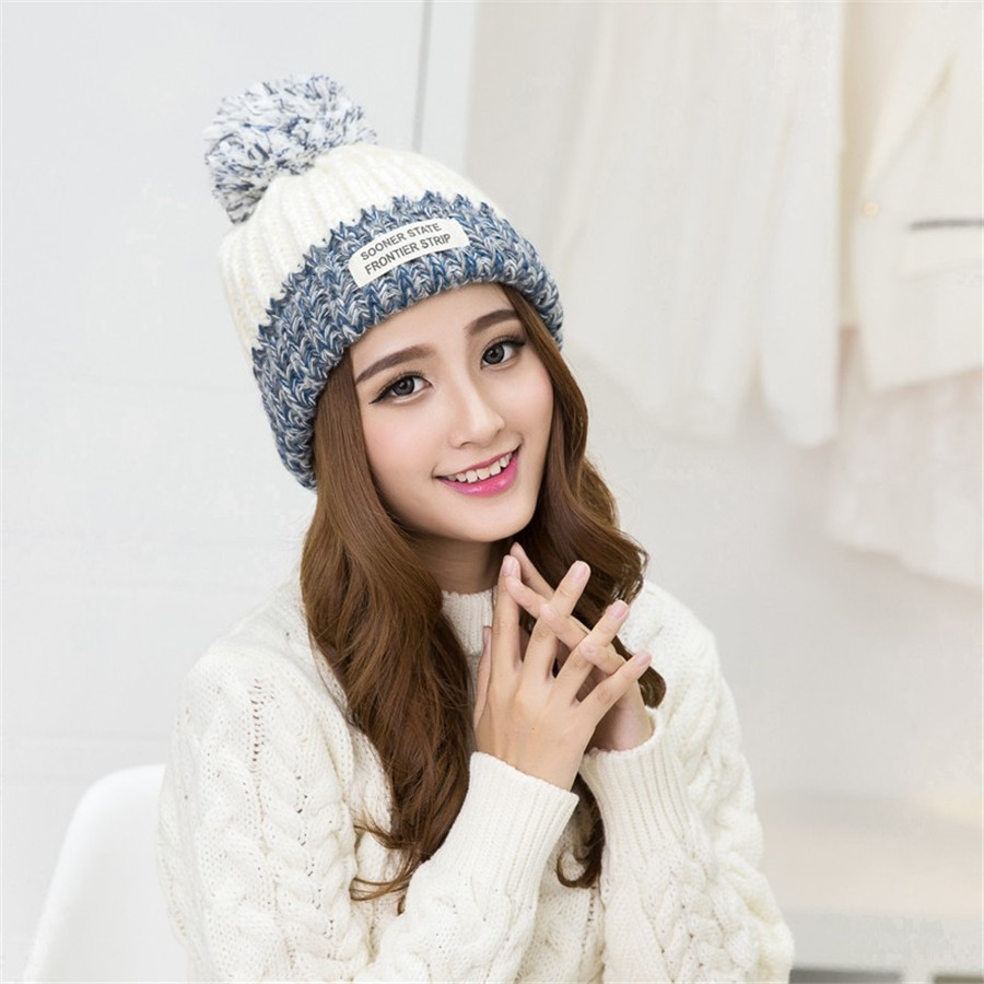 Autumn Winter Hats For Women  Wool Pompon Letter Warm Knitted Women's Casual Hip Hop Brand Hat Female Skullies Beanies bingyuanhaoxuan2017 warm patchwork hats casual female autumn winter hats handmade coarse knitted hat for women beanies candy cap