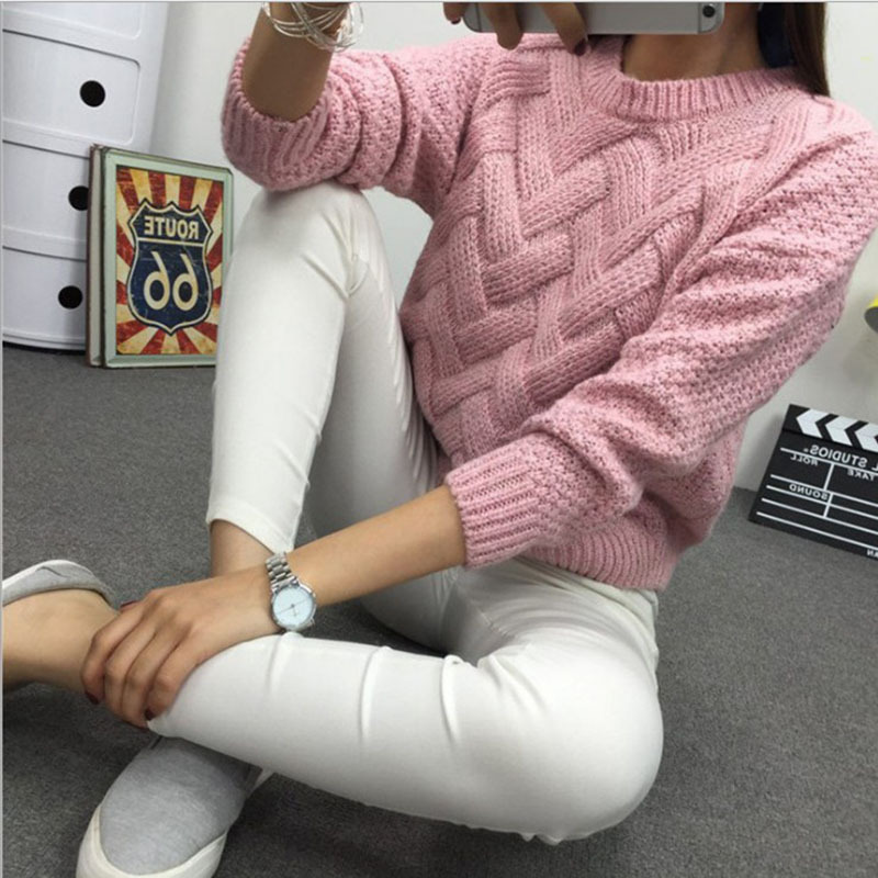 Winter O-neck Women's Sweater Jersey Woman Mohair Knitted Twisted Thick Warm Lady's Pullover  College Jumper Women Pink Gray