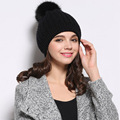 Fashion Hot Sale Women Elegant Hats Knitted Fur Solid Hat Autumn Winter Brand Female Skullies Lord Warm Comfortable Hat PC11T120