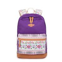 Fashion Women Canvas Backpack Shoulder Bag School Student Bag Computer Multi Functional Large Capacity Printing Flower