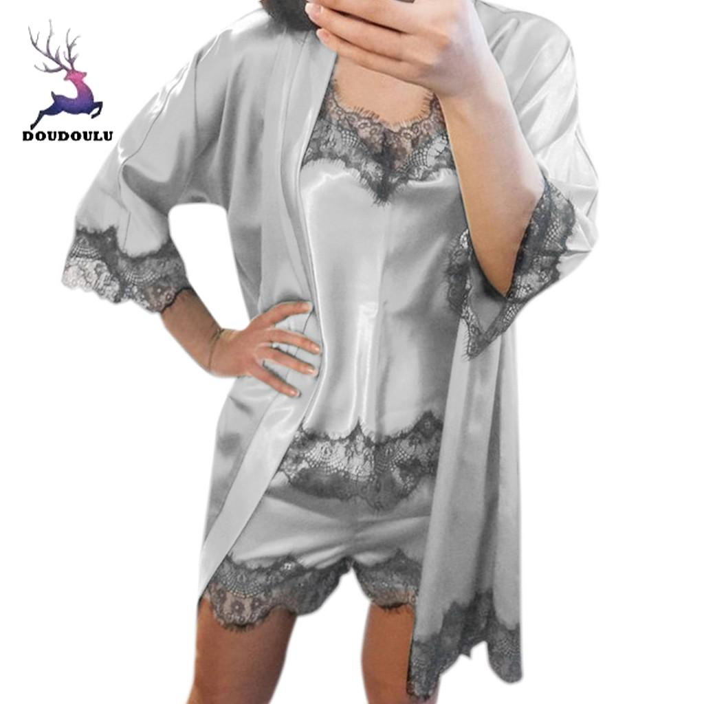 Underwear-Set Sleepwear Nightgown Lingerie Babydoll-Nightdress Women Lace Fashion 2PC