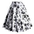 Midi falda de moda 2016 para mujer 50 s estilo vintage verano falda faldas tutú de la impresión floral elegante del patinador faldas