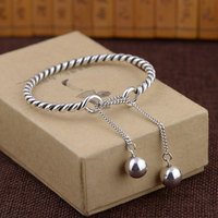925 Silver Ball Bangle Fashion Simple Vintage Adjustable Size Diameter 58mm 100 S925 Sterling Silver Bangles