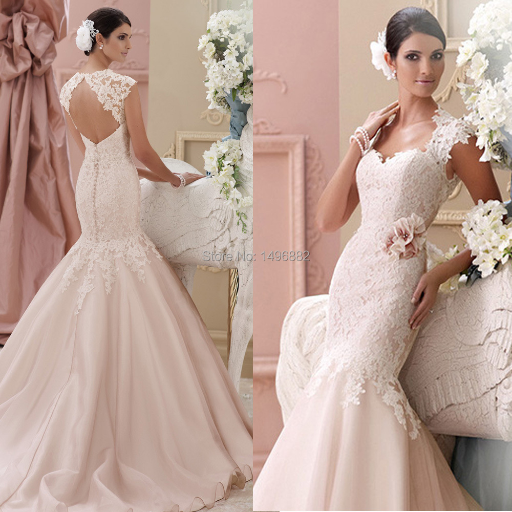 pink lace wedding dress custom made 2015 new blush pink wedding dresses lace 6585