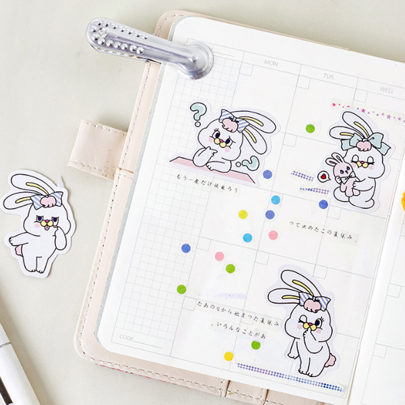 Купить с кэшбэком 45Pcs/box Rabbit weight loss diary Mini Decoration Paper Sticker DIY Scrapbook Notebook Album Kawaii Sticker Stationery